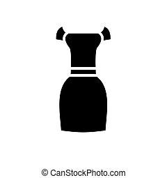 vetorial, vestido preto, fundo, ícone, isolado, elegante, sinal, ilustração