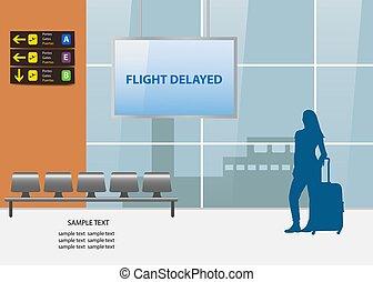 vetorial, viagem, atrasado, conceito, vôo, ar