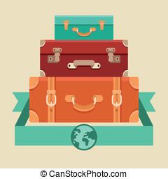vetorial, viagem, conceito, em, apartamento, estilo