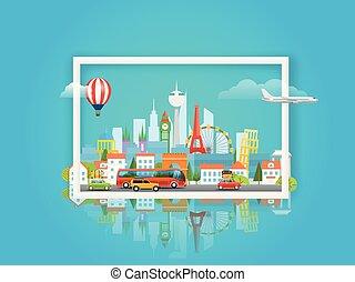 vetorial, viagem, conceito, ilustração, cityscape.