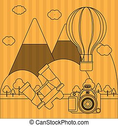 vetorial, viagem, ilustração, câmera, desenho, ícone