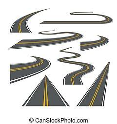 vetorial, viagem, rua, isolado, enrolamento, maneira, rodovia, illustration., caminho, estrada asfalto