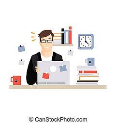 vetorial, vida, escritório ocupado, sentando, laptop, trabalhando, personagem, jovem, ilustração, computador, diariamente, escrivaninha, empregado, homem negócios, cansado