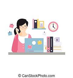 vetorial, vida, morena, escritório, sentando, executiva, laptop, personagem, ilustração, falando, computador, diariamente, telefone, escrivaninha, empregado