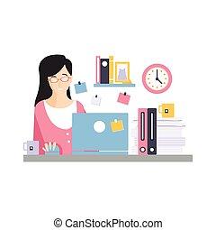 vetorial, vida, morena, trabalhando escritório, sentando, executiva, laptop, personagem, ilustração, computador, diariamente, chá, escrivaninha, empregado, bebendo