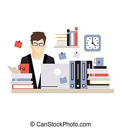 vetorial, vida, ocupado, difícil, trabalhando escritório, sentando, laptop, personagem, jovem, ilustração, computador, diariamente, escrivaninha, empregado, homem negócios