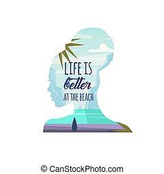 vetorial, vida, praia., illustration., pensando, praia, aproximadamente, melhor, mulher, summer.