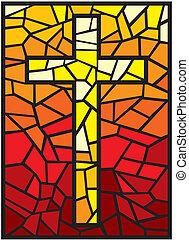vetorial, vidro, manchado, crucifixos