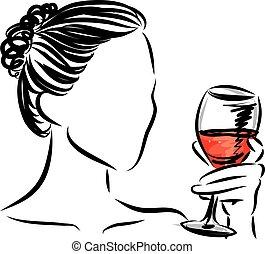 vetorial, vidro, mulher, ilustração, vinho