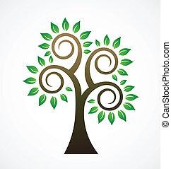 vetorial, vindima, árvore
