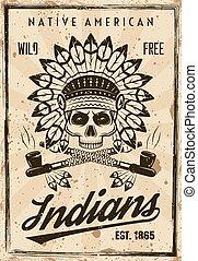 vetorial, vindima, americano, estilo, indigenas, cartaz