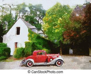 vetorial, vindima, carros, pintura óleo