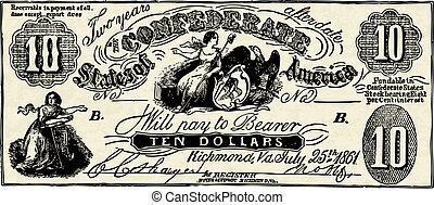vetorial, vindima, confederado, nota banco