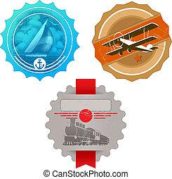 vetorial, &, vindima, etiquetas, -, vapor, iate, avião, retro, locomotiva, transporte