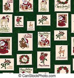 vetorial, vindima, feriado, selos, verde, natal, seamless, pattern., são, nicholas.