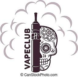 vetorial, vindima, ilustração, vape, logotipo