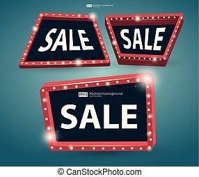 vetorial, vindima, jogo, banner., signboard, signboard., sale., luminoso, rua, retro, luz, bandeiras, billboard