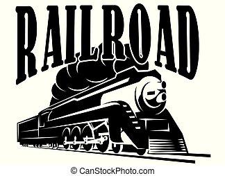 vetorial, vindima, locomotiva, trem, modelo