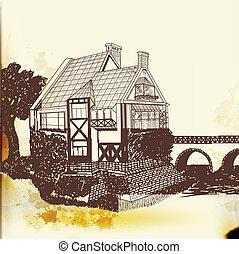 vetorial, vindima, mão, desenhado, casa