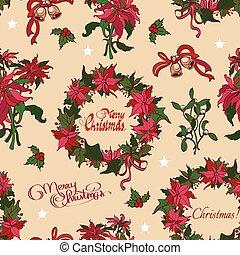 vetorial, vindima, natal, flores, sinos, seamless, pattern., vibrante, vermelho