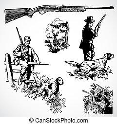 vetorial, vindima, rifles, caça, gráficos