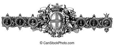 vetorial, vitoriano, ornamento