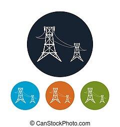 vetorial, voltagem, linhas, ícone, alto, ilustração, poder