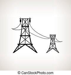 vetorial, voltagem, silueta, linhas, alto, ilustração, poder