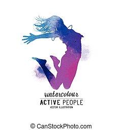 vetorial, watercolour, pular, mulheres