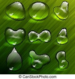 vetorial, waterdrops, transparente, templ