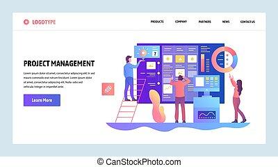 vetorial, web site, desenho, template., ágil, projete manejo, e, negócio, teamwork., aterragem, página, conceitos, para, site web, e, móvel, development., modernos, apartamento, illustration.