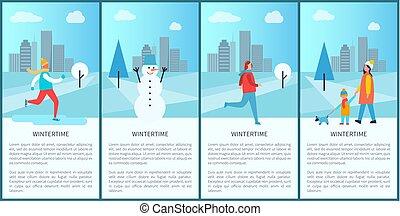 vetorial, wintertime, jogo, anuncia, ilustração