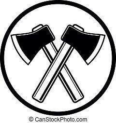 vetorial, woodcutter, crossed., ferramenta, ser, simples, ...