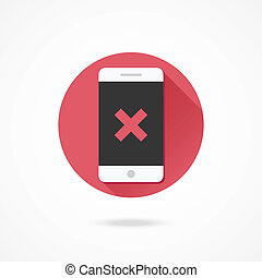 vetorial, x, smartphone, ícone, marca