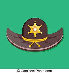 vetorial, xerife, chapéu, ícone