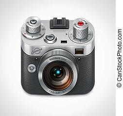 vetorial, xxl, câmera, retro, ícone