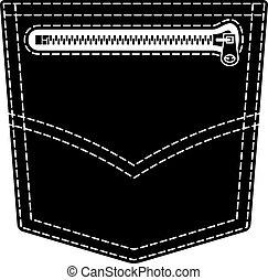 vetorial, zipper, calças brim, bolso, pretas, símbolo