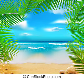 vetorny landscape with a sky-blue ocean, golden sands and palm