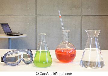 vetreria, scrivania, in, laboratorio