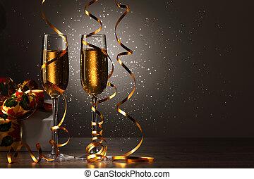 vetri champagne, a, anno nuovo, festa