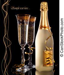 vetri champagne, con, bottiglia