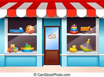vetrina, giocattoli