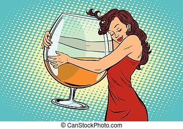 vetro, abbracciare, vino, donna