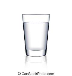 vetro acqua, bianco, vettore, isolato