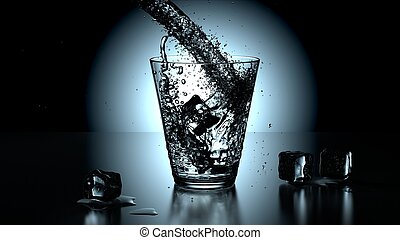 vetro acqua, closeup, puro