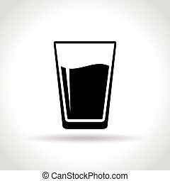 vetro acqua, sfondo bianco, icona