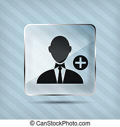 vetro, aggiungere, fondo, uomo affari, strisce, icona