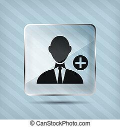 vetro, aggiungere, uomo affari, icona