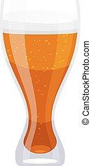 vetro alto, tazza, cartone animato, birra, bianco, isolate., elemento, cibo, style., fondo.