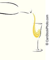 vetro, astratto, schizzo, champagne, giallo